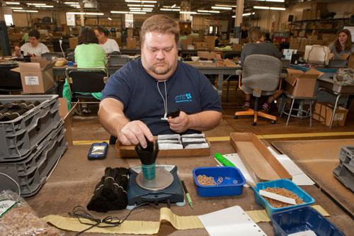 dark blue shirt disabled employee